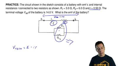 The circuit shown in the sketch consists of a battery with emf ε and internal ...