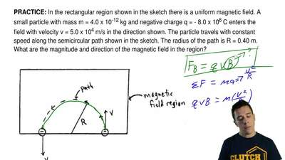 In the rectangular region shown in the sketch there is a uniform magnetic fiel...