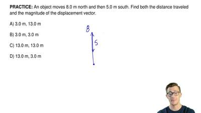 An object moves 8.0 m north and then 5.0 m south. Find both the distance trave...