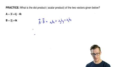 What is the dot product ( scalar product) of the two vectors given below?  A =...