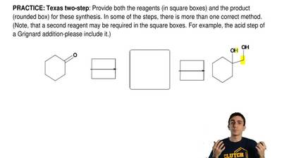Texas two-step: Provide both the reagents (in square boxes) and the product (r...