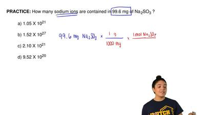 How many sodium ions are contained in 99.6 mg of Na  2SO3 ?  a) 1.05 X 1021  b...