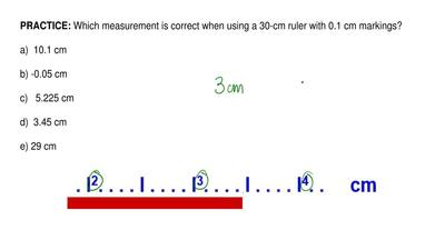 Which measurement is correct when using a 30-cm ruler with 0.1 cm markings?   ...