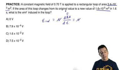 A constant magnetic field of 0.70 T is applied to a rectangular loop of area 3...