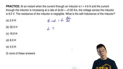 At an instant when the current through an inductor is I= 4.0 A and the curren...