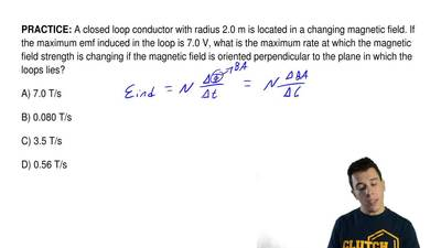 A closed loop conductor with radius 2.0 m is located in a changing magnetic fi...
