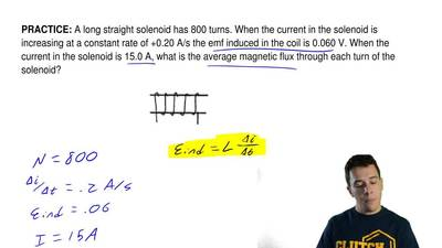 A long straight solenoid has 800 turns. When the current in the solenoid is in...