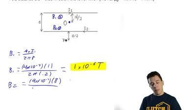 In the figure, the two long straight wires are separated by a distance of d = ...
