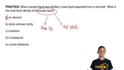 When a purple liquid was distilled, a blue liquid separated from a red solid. ...