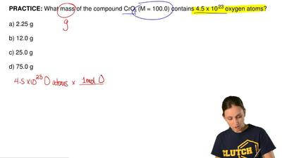 What mass of the compound CrO3 (M = 100.0) contains 4.5 x 10 23 oxygen atoms? ...
