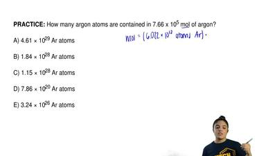 How many argon atoms are contained in 7.66 x 10 5 mol of argon?  A) 4.61 × 102...
