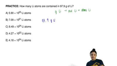 How many Li atoms are contained in 97.9 g of Li?  A) 5.90 × 1025 Li atoms  B) ...