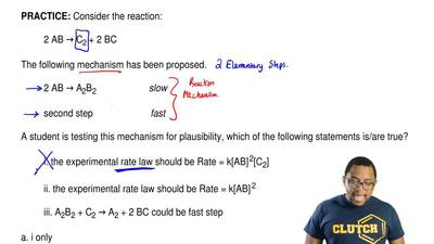 Consider the reaction:  2 AB → C2 + 2 BC  The following mechanism has been pro...