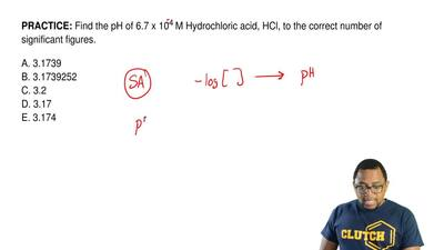 Find the pH of 6.7 x 10-4 M Hydrochloric acid, HCl, to the correct number of s...