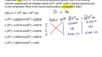 Ksp = 6.3 x 10-5 for the following hypothetical equation. Each of the followin...