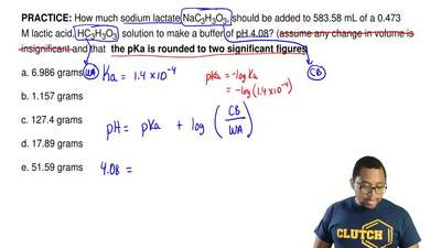 How much sodium lactate NaC3H3O3, should be added to 583.58 mL of a 0.473 M la...