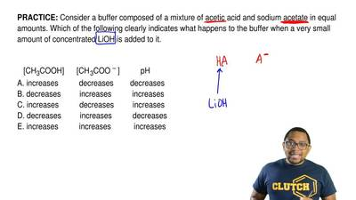 Consider a buffer composed of a mixture of acetic acid and sodium acetate in e...