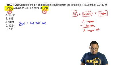 Calculate the pH of a solution resulting from the titration of 113.00 mL of 0....