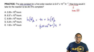 The rate constant for a first-order reaction is 6.47 x 10 -7 hr -1. How long w...