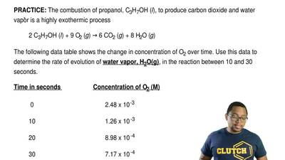 The combustion of propanol, C3H7OH (l), to produce carbon dioxide and water va...