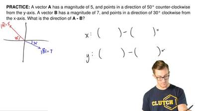 A vector A has a magnitude of 5, and points in a direction of 50° counter-cloc...