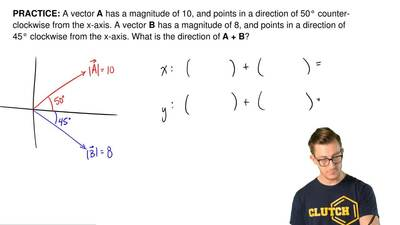 A vector A has a magnitude of 10, and points in a direction of 50°counter-clo...