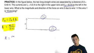 In the figure below, the two long straight wires are separated by a distance o...