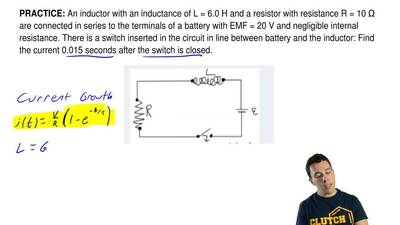 An inductor with an inductance of L = 6.0 H and a resistor with resistance R =...