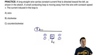 A long straight wire carries constant currentIthat is directed toward the le...