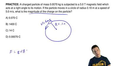 A charged particle of mass 0.0070 kg is subjected to a 5.0 T magnetic field wh...