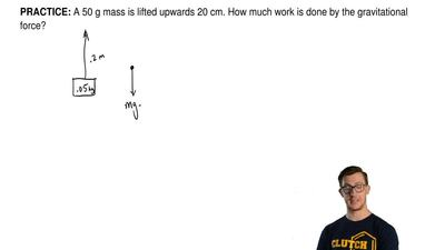 A 50 g mass is lifted upwards 20 cm. How much work is done by the gravitationa...
