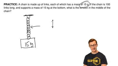 A chain is made up of links, each of which has a mass of 15 g. If the chain is...