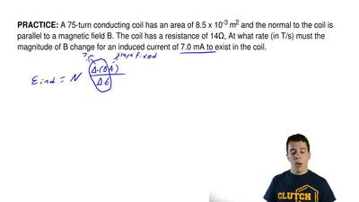 A 75-turn conducting coil has an area of 8.5 x 10-3 m2 and the normal to the ...