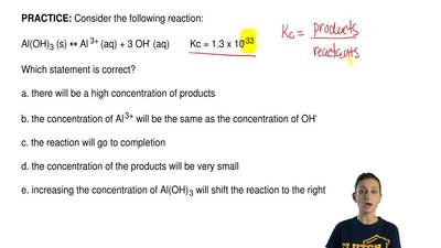 Consider the following reaction:  Al(OH)3 (s) ↔ Al 3+ (aq) + 3 OH- (aq)       ...