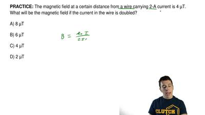 The magnetic field at a certain distance from a wire carrying 2-A current is 4...
