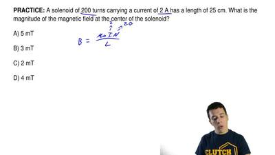 A solenoid of 200 turns carrying a current of 2 A has a length of 25 cm. What ...