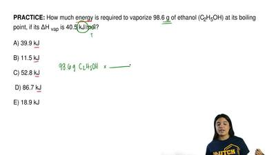 How much energy is required to vaporize 98.6 g of ethanol (C2H5OH) at its boi...
