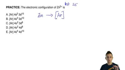 The electronic configuration of Zn2+ is   A. [Ar] 4s2 3d10 B. [Ar] 4s0 3d10 C....