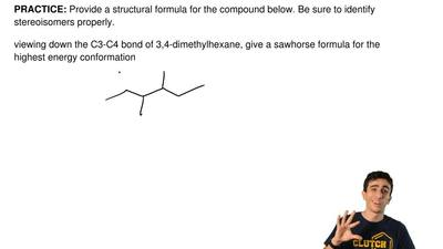 Provide a structural formula for the compound below. Be sure to identify stere...