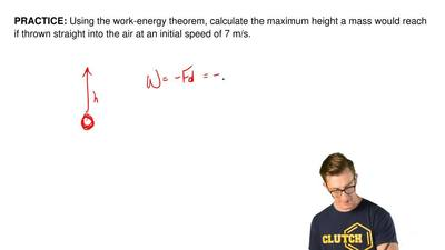 Using the work-energy theorem, calculate the maximum height a mass would reach...