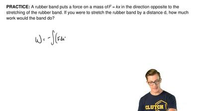 A rubber band puts a force on a mass of F = kx in the direction opposite to th...