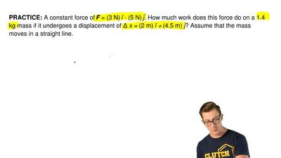 A constant force of F = (3 N) î - (5 N) ĵ. How much work does this force do on...