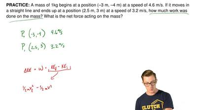 A mass of 1kg begins at a position (–3 m, –4 m) at a speed of 4.6 m/s. If it m...