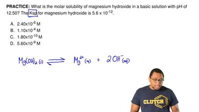 What is the molar solubility of magnesium hydroxide in a basic solution with p...