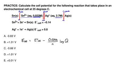Calculate the cell potential for the following reaction that takes place in an...