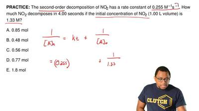 The second-order decomposition of NO2 has a rate constant of 0.255 M –1s –1. H...
