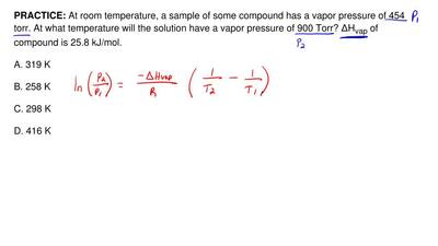 At room temperature, a sample of some compound has a vapor pressure of 454 tor...