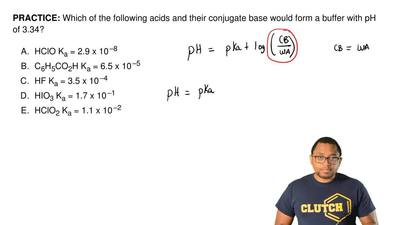 Which of the following acids and their conjugate base would form a buffer with...