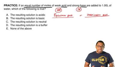 If an equal number of moles of weak acid and strong base are added to 1.00L of...