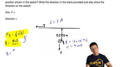 A long straight wire carries a current ofI =3.00 A directed to the left, as ...